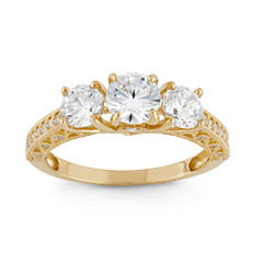 Diamonart Womens 2 CT. T.W. Round White Cubic Zirconia 10K Gold 3-Stone Ring