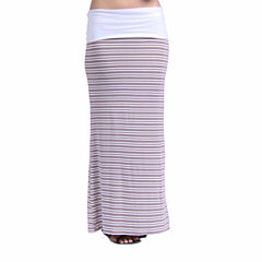 24/7 Comfort Apparel Hazel Stripe Printed Fold Over Maxi Skirt