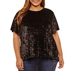 Boutique + Short Sleeve Round Neck Velvet Blouse-Plus