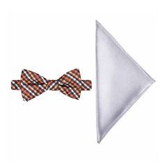 JF J. Ferrar® Mini Gingham Bow Tie and Pocket Square Set