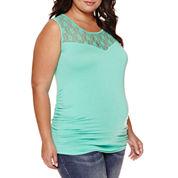 Maternity Garment Dye Lace Tank Top - Plus