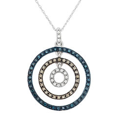 Womens 3/8 CT. T.W. Blue Diamond 10K Gold Pendant Necklace