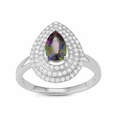 Womens Genuine Green Mystic Fire Topaz Sterling Silver Cocktail Ring