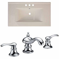 American Imaginations Ceramic Top Set In Biscuit Color With 8-in. o.c. CUPC Faucet