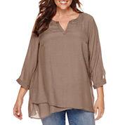 St. John's Bay® Long-Sleeve Easy-Crossover Print Tunic - Plus