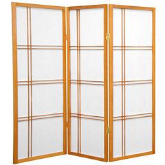 Oriental Furniture 4' Double Cross Shoji 3 Panel Room Divider