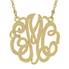 Personalized 14K Gold Over Sterling Silver 40mm Monogram Necklace