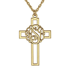 Personalized 14K Gold Over Silver 20mm Monogram Cross Pendant Necklace