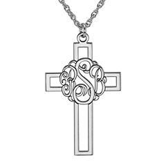 Personalized Sterling Silver Monogram Cross Pendant Necklace