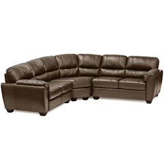 Leather Possibilities Pad-Arm 3-pc. Loveseat Sectional