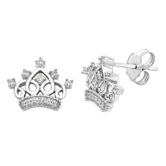 Enchanted By Disney 1/10 CT. T.W. Round White Diamond Sterling Silver Stud Earrings