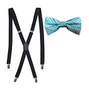 JF J. Ferrar® Tonal Stripe Bow Tie and Suspender Set
