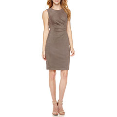 London Style Sleeveless Faux-Suede Pleated-Front Sheath Dress - Petite