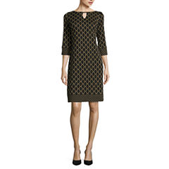 RN Studio by Ronni Nicole 3/4-Sleeve Trellis-Print Shift Dress