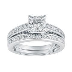 Hallmark Bridal Womens 1/2 CT. T.W. Genuine Diamond 10K Gold Bridal Set