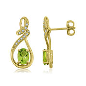 Oval Genuine Peridot and Lab-Created White Sapphire Infinity Earrings