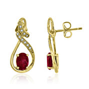 Red Lab-Created Ruby Drop Earring in Gold Over Silver