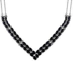 Womens Black Sapphire Chevron Necklaces
