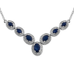 Lab Created Blue & White Sapphire Sterling Silver Necklace