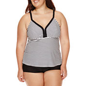Arizona Summertime Striped Tankini Swim Top - Juniors Plus