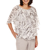 Alfred Dunner® Veneto Valley Flutter-Sleeve Printed Layered Top