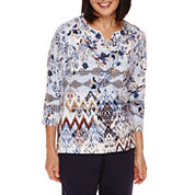 Alfred Dunner® 3/4-Sleeve Diamond-Print Top