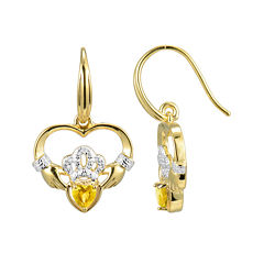Heart-Shaped Genuine Citrine and Diamond-Accent Claddagh Earrings