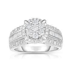 tw diamond 10k white gold cluster ring - Jcpenney Wedding Ring Sets