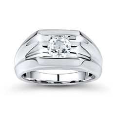 Mens Lab-Created White Sapphire Sterling Silver Ring