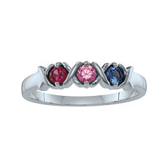 Personalized Xs and Os Birthstone Ring
