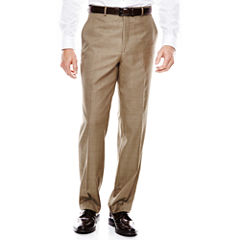 Stafford® Travel Brown Sharkskin Flat-Front Suit Pants - Classic Fit
