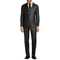 JF J. Ferrar® Charcoal Plaid Suit Separates-Slim Fit
