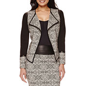 Bisou Bisou® Draped Faux-Leather Trim Jacket