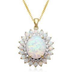 Lab-Created Opal & White Sapphire Drop Pendant Necklace