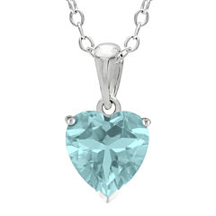 Heart-Shaped Lab-Created Aquamarine Sterling Silver Pendant Necklace