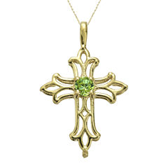 Genuine Peridot 10K Yellow Gold Cross Pendant Necklace