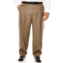 Stafford® Travel Brown Sharkskin Pleated Suit Pants - Big & Tall