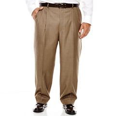 Stafford® Travel Brown Sharkskin Pleated Suit Pants - Big & Tall