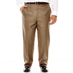 Stafford® Travel Brown Sharkskin Flat-Front Suit Pants - Portly Fit
