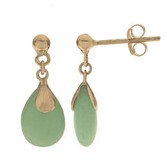 Genuine Jade 14K Yellow Gold Drop Earrings