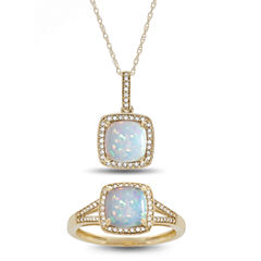 Womens 2-pc. Multi Color Opal 10K Gold Jewelry Set