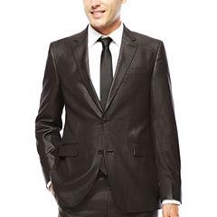 JF J. Ferrar® Charcoal-Black Plaid Suit Jacket - Slim Fit