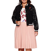 Boutique+™ Ashley Nell Tipton Sequined Bomber Jacket, Graphic Tee & Pleated Faux-Leather Skirt