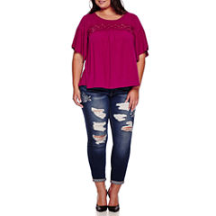 Boutique+ Elbow-Sleeve Knit Top or Embroidered Destructed Skinny Jeans - Plus