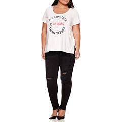 Boutique+ Short-Sleeve Stair Step Graphic Tee or 5-Pocket Skinny Jeans - Plus