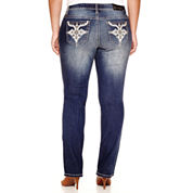 Soundgirl Faux Leather-Pocket Destructed Bootcut Jeans - Juniors Plus
