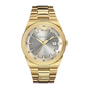 Bulova® Mens Gray Dial Gold-Tone Stainless Steel Watch 97B137