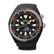 Seiko® Prospex Kinetic GMT Diver Mens Black Silicone Strap Watch SUN023