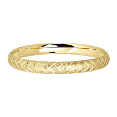 Infinite Gold™ 14K Yellow Gold Textured Hollow Bangle Bracelet