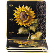Certified International French Sunflowers Set of 4 Salad Plates